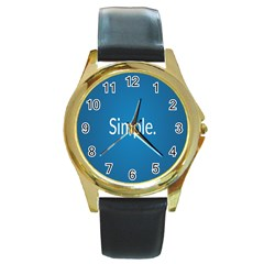 Simple Feature Blue Round Gold Metal Watch