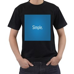 Simple Feature Blue Men s T-Shirt (Black) (Two Sided)