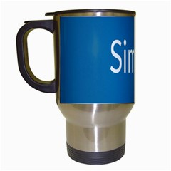 Simple Feature Blue Travel Mugs (White)