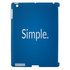 Simple Feature Blue Apple iPad 3/4 Hardshell Case (Compatible with Smart Cover)