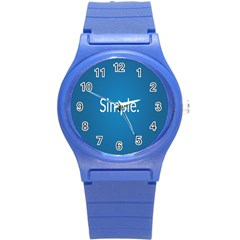Simple Feature Blue Round Plastic Sport Watch (S)