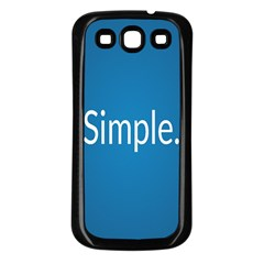 Simple Feature Blue Samsung Galaxy S3 Back Case (Black)