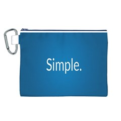 Simple Feature Blue Canvas Cosmetic Bag (L)