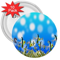 Pisces Underwater World Fairy Tale 3  Buttons (10 pack)