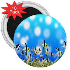 Pisces Underwater World Fairy Tale 3  Magnets (10 pack)
