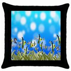 Pisces Underwater World Fairy Tale Throw Pillow Case (Black)