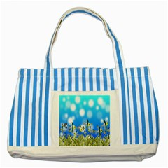 Pisces Underwater World Fairy Tale Striped Blue Tote Bag