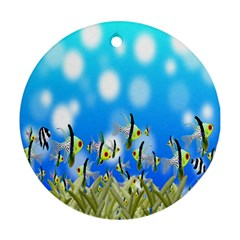 Pisces Underwater World Fairy Tale Round Ornament (Two Sides)