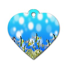 Pisces Underwater World Fairy Tale Dog Tag Heart (Two Sides)