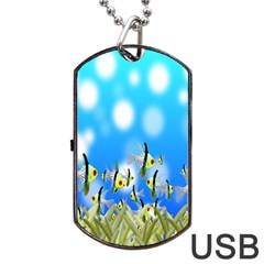 Pisces Underwater World Fairy Tale Dog Tag Usb Flash (one Side)