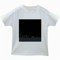 Windmild City Building Grey Kids White T-Shirts