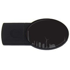Windmild City Building Grey USB Flash Drive Oval (1 GB)