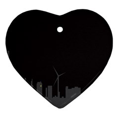 Windmild City Building Grey Heart Ornament (Two Sides)