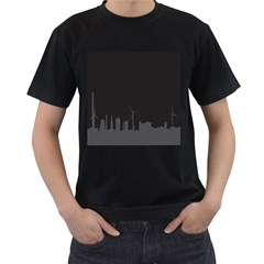 Windmild City Building Grey Men s T-Shirt (Black)