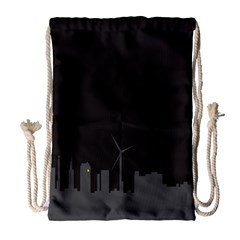 Windmild City Building Grey Drawstring Bag (Large)