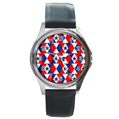 Patriotic Red White Blue 3d Stars Round Metal Watch