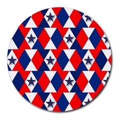 Patriotic Red White Blue 3d Stars Round Mousepads
