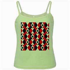 Patriotic Red White Blue 3d Stars Green Spaghetti Tank