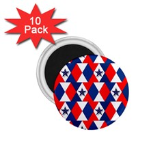 Patriotic Red White Blue 3d Stars 1.75  Magnets (10 pack)
