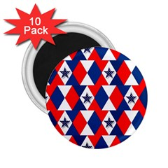 Patriotic Red White Blue 3d Stars 2.25  Magnets (10 pack)