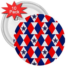 Patriotic Red White Blue 3d Stars 3  Buttons (10 pack)