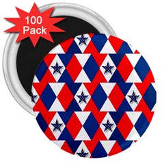Patriotic Red White Blue 3d Stars 3  Magnets (100 pack)