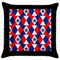 Patriotic Red White Blue 3d Stars Throw Pillow Case (Black)