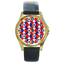 Patriotic Red White Blue 3d Stars Round Gold Metal Watch