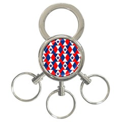 Patriotic Red White Blue 3d Stars 3-Ring Key Chains