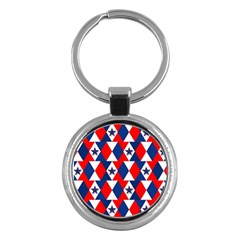 Patriotic Red White Blue 3d Stars Key Chains (Round)