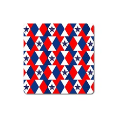 Patriotic Red White Blue 3d Stars Square Magnet