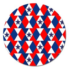 Patriotic Red White Blue 3d Stars Magnet 5  (Round)