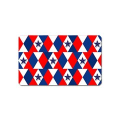 Patriotic Red White Blue 3d Stars Magnet (Name Card)