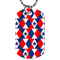 Patriotic Red White Blue 3d Stars Dog Tag (One Side)