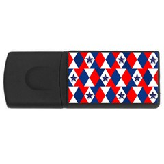 Patriotic Red White Blue 3d Stars USB Flash Drive Rectangular (2 GB)