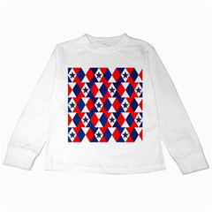 Patriotic Red White Blue 3d Stars Kids Long Sleeve T-Shirts