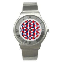 Patriotic Red White Blue 3d Stars Stainless Steel Watch