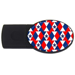 Patriotic Red White Blue 3d Stars USB Flash Drive Oval (4 GB)