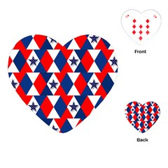 Patriotic Red White Blue 3d Stars Playing Cards (Heart)