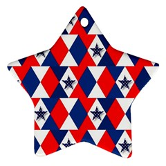 Patriotic Red White Blue 3d Stars Star Ornament (Two Sides)