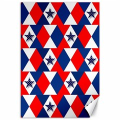 Patriotic Red White Blue 3d Stars Canvas 12  x 18