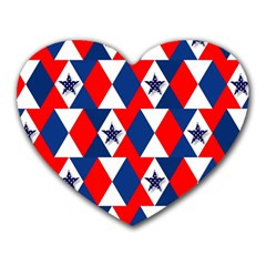 Patriotic Red White Blue 3d Stars Heart Mousepads
