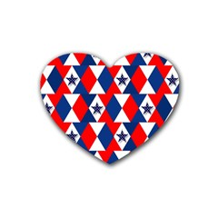 Patriotic Red White Blue 3d Stars Rubber Coaster (Heart)