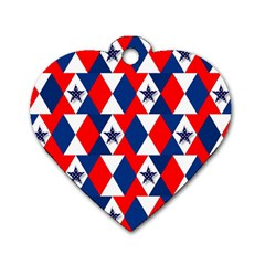 Patriotic Red White Blue 3d Stars Dog Tag Heart (Two Sides)