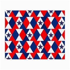 Patriotic Red White Blue 3d Stars Small Glasses Cloth (2-Side)