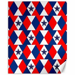 Patriotic Red White Blue 3d Stars Canvas 11  x 14