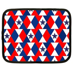 Patriotic Red White Blue 3d Stars Netbook Case (Large)