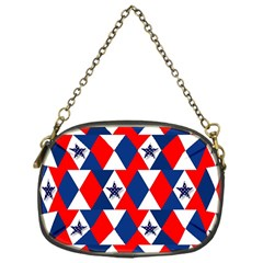 Patriotic Red White Blue 3d Stars Chain Purses (One Side)