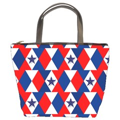 Patriotic Red White Blue 3d Stars Bucket Bags