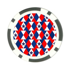 Patriotic Red White Blue 3d Stars Poker Chip Card Guard (10 pack)